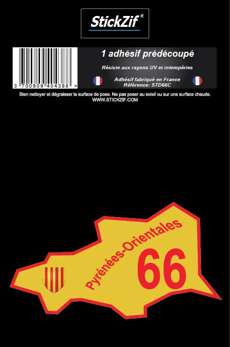 1 Sticker carte 66 Pyrénées-Orientales STICKZIF STD66C : Plakers - Plaques d'immatriculation ...