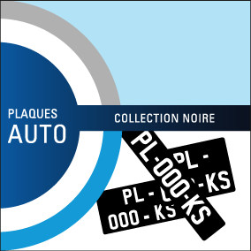 Plaques immatriculation auto collection noires